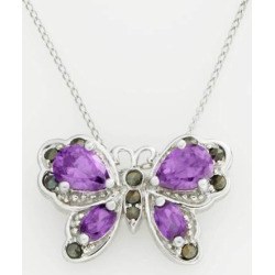 Jewelry for Trees Platinum Over Silver Butterfly Pendant, Women's, multicolor