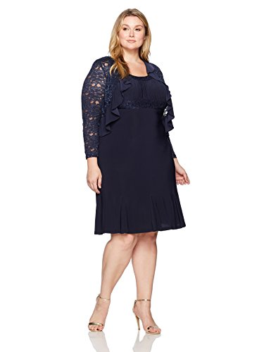 Sandra Darren Women's Plus Size Sd Collection Sleeveless All Over Sequin/Mesh Dress, Navy, 22W
