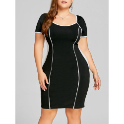 Plus Size Two Tone Fitted Dress