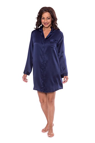 TexereSilk Women's Silk Sleep Shirt – Sleepwear Nightshirt by (Dreamfest, Gulf Blue, Medium) Luxury Night Shirts For Wife Fiancee Girlfriend WS0478-GFB-M