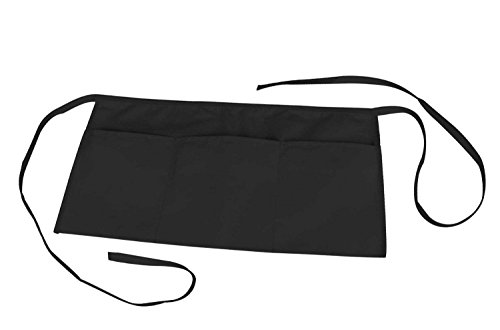 Waist Apron with 3 Pockets Poly Cotton Commercial Restaurant Home Bib Spun, Black, Green, Navy, White, Royal, Red (100, Black)