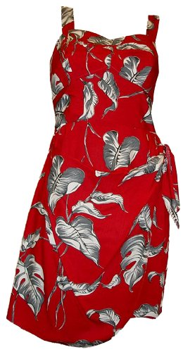 Paradise Found Womens Laulau Side Tie Sarong Dress in Red – XXL