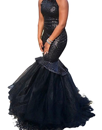 M Bridal Women's Sequins High Neck Sweep Train Mermaid Prom Pageant Dress Black Size 18