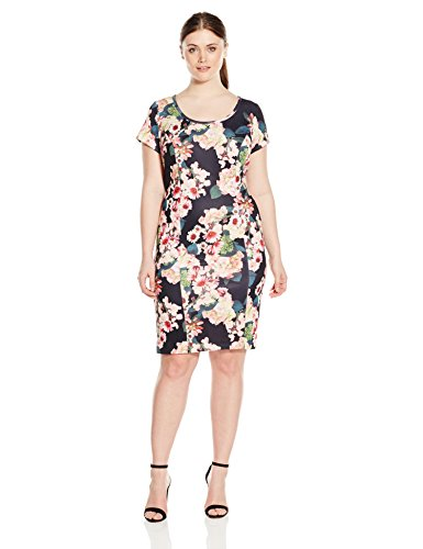 Adrianna Papell Women's Plus Size Floral Printed Scuba Sheath, Black/Multi, 14W