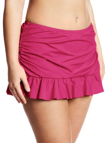 Kenneth Cole REACTION Women's Plus-Size Ruffle-Licious Skirted Bikini Bottom, Berry, 2X