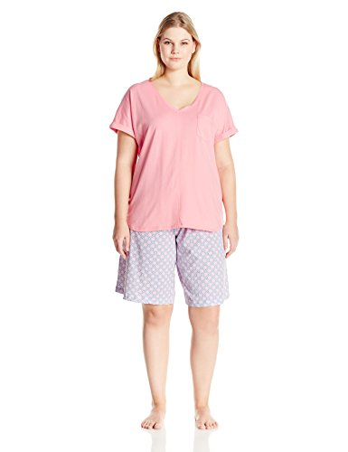 Karen Neuburger Women's Plus-Size KN Cool Short Sleeve Pullover Bermuda Set, Coral/Geo/Coral, 1X