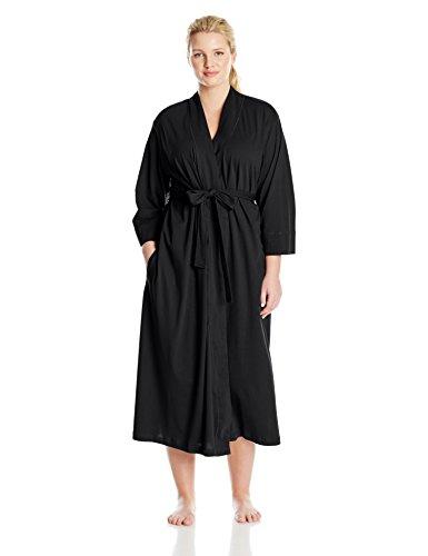 Jockey Women's Plus-Size Cotton Long Robe, Black, 3X