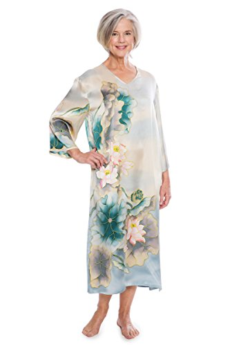 TexereSilk Women's Luxury 100% Silk Caftan – Beautiful Night Gown (Lotusilk, Lake, X-Large) Popular Gifts Mom Sister Wife Girlfriend Daughter TS-WS042-002-LAKE-R-XL