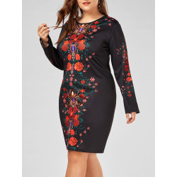 Plus Size Floral Printed Long Sleeve Sheath Dress