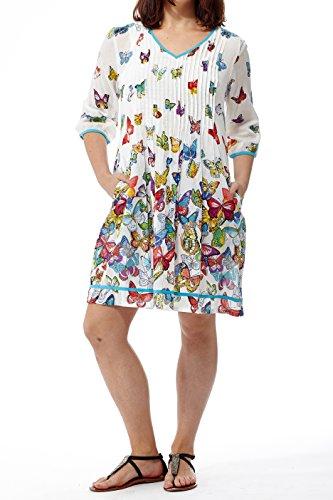 La Cera Women's V-neck Pleated Front Short Dress Plus Size