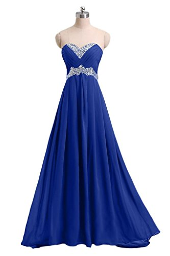 Snowskite Women's Sweetheart Long Chiffon Beading Evening Formal Party Dress Royal Blue 18