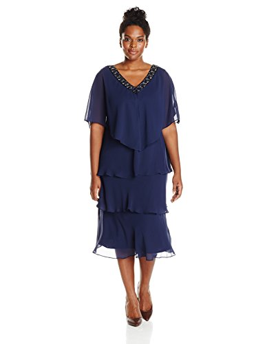 S.L. Fashions Women's Plus-Size Rhinestone Trimmed Cape Jacket Multi Tiered Dress, Navy, 14W