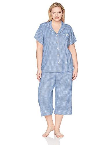 Karen Neuburger Women Plus Size Short-Sleeve Girlfriend Crop Capri Pajama Set PJ, Dot Peri, 1X
