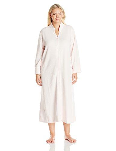 Carole Hochman Women's Diamond Shimmer Zip Robe – 2X Plus – Pink