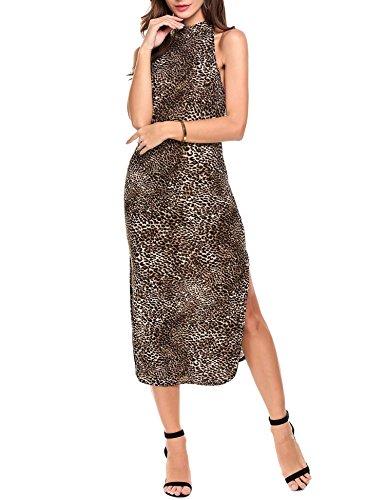 Zeela Women Halter Sleeveless Side Slit Leopard Animal Print Long Party Dress