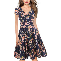 Women's V-Neck Printed Short Sleeve Pleated Party Dress