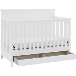storkcraft davenport 5 in 1 convertible crib with drawer white - Storkcraft Davenport 5-in-1 Convertible Crib with Drawer, White