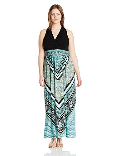London Times Women's Plus-Size Halter Banded Waist Scarf Print Maxi Dress, Black/Aqua, 14W