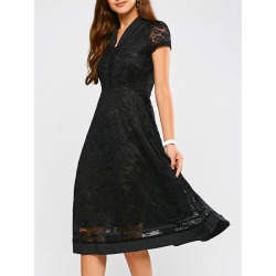 Short Sleeve A Line Lace Dress