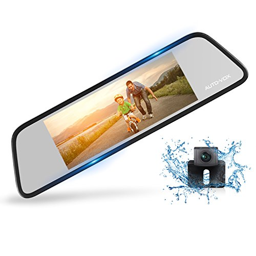 auto vox m8 touch screen mirror dash cam1296p fhd front rear view mirror - AUTO-VOX M8 Touch Screen Mirror Dash Cam,1296P FHD Front Rear View Mirror Camera and 180°Horizontal View Angle Backup Camera Kit with Lane Departure Warning System, Security Alarm & Motion Detection