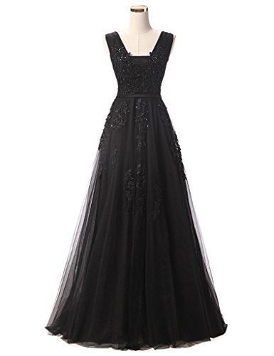 CuteShe Women's Long Lace Tulle Beading Prom Evening Dresses Black US Size 16