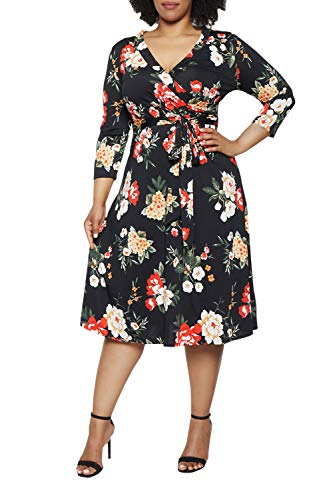 Pink Queen Womens Dresses Plus Size Faux Wraps Floral Print Dress with Sleeves 2XL Black