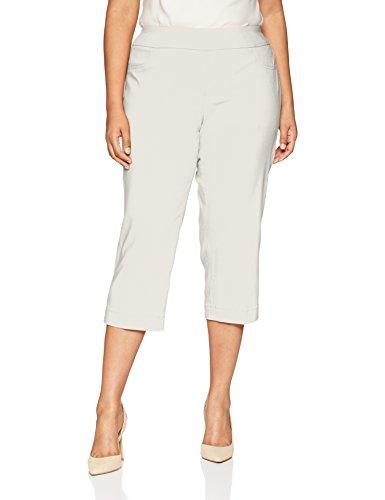 SLIM-SATION Women's Plus Size Wide Band Pull on Straight Leg Capri with Tummy Control, Light Grey, 16W