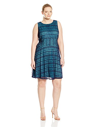 London Times Women's Plus-Size RIC Rac Lace Sleeveless Fit and Flare, Navy/Turquoise, 14