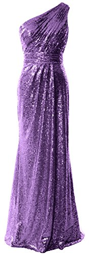 MACloth Women One Shoulder Sequin Long Prom Dress 2017 Formal Party Evening Gown (20w, Purple)