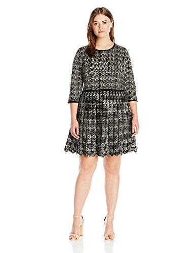 Taylor Dresses Women's Plus Size 3/4 Sleeve Printed Fit and Flare Sweater Dress, Black/Ivory, 3X