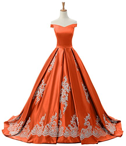 Sunvary Women's Evening Prom Gowns Off-The-Shoulder Applique Reception Military Ball Dresses Size 16- Orange