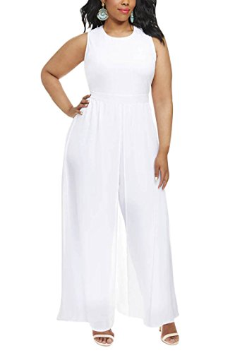 Pink Queen Women Plus Size Sleeveless Long Chiffon Overlay Dress White Jumpsuit White X-Large