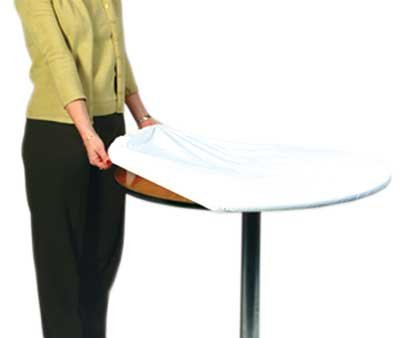 """Kwik-Cover 72-W 72"""" Round Kwik-Cover- White Fitted Table Cover (1 full case of 50)"""
