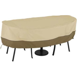 Outdoor Classic Accessories Veranda Bistro Round Table & Two Chairs Cover, Beig/Green (Beig/Khaki)