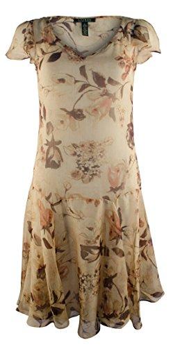 Lauren Ralph Lauren Women's Plus Size Floral V-Neck Drop Waist Dress-TM-18W