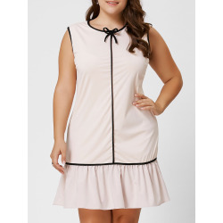 Plus Size Bowknot Ruffle Drop Waist Dress