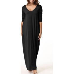 V Neck Floor Length Baggy Dress