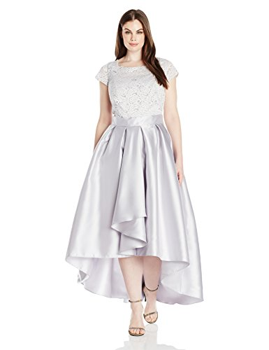 Ignite Women's Plus Size Cap Sleeve Lace Hi Lo Mikado Gown, Sterling, 14W