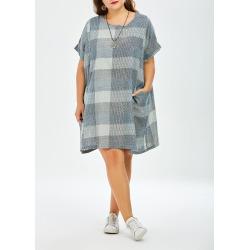 Plus Size Plaid Mini Trapeze  Dress With Pockets
