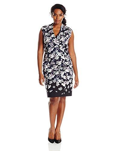Adrianna Papell Women's Plus Size High Neck Cotton Sheath Dress, Black/Multi, 22W