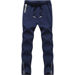 K006 Men's Active Pants Drawstring Solid Color Extended Comfy Pants