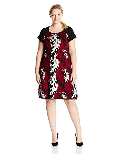 Taylor Dresses Women's Plus-Size Printed Cap Sleeve Fit and Flare Sweater Dress, Merlot, 3X