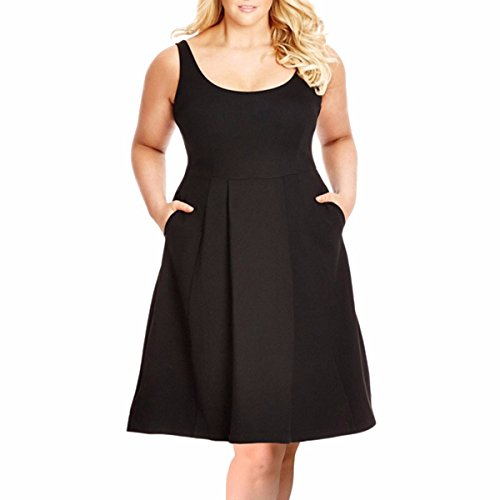 Samtree Plus Size Dresses for Women,Casual Sleeveless Fit and Flare A-line Sundress(5XL(US 18 Plus),Black)