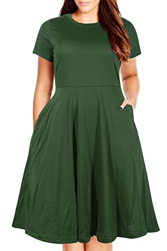 Nemidor Women's Round Neck Summer Casual Plus Size Fit and Flare Midi Dress with Pocket (Army Green, 18W)