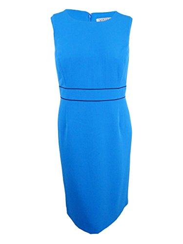 Kasper Women's Plus Size Short Sleeve Crepe Square Neck Dress, Azure, 14W