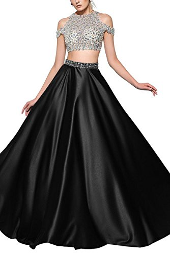 SDRESS Women's A-line Crystals Jewel Neck 2 Pieces Prom Dress Formal Evening Dress Black Size 12