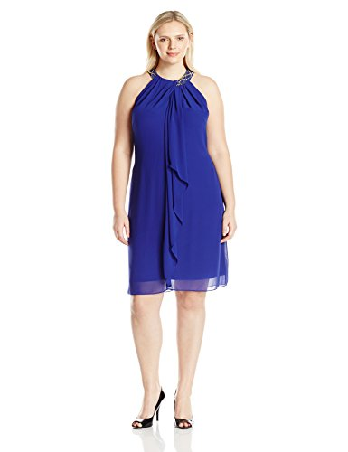 S.L. Fashions Women's Plus Size Sleeveless Chiffon Cocktail Dress with Embellished Neckline and Draped Front, Iris, 14W