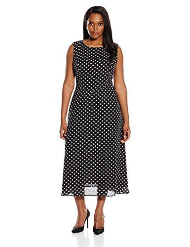 Single Dress Women's Plus Size Printed Kathryn Dress, Black/Cream, 2X