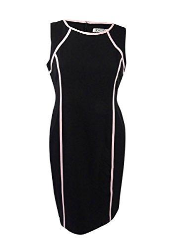 Kasper Women's Plus Size Short Sleeve Dress with Pink Trim, Black/Tutu Pink, 20W