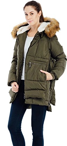 Valuker Women's Down Coat With Fur Hood 90D Parka Puffer Jacket Green-US(M)